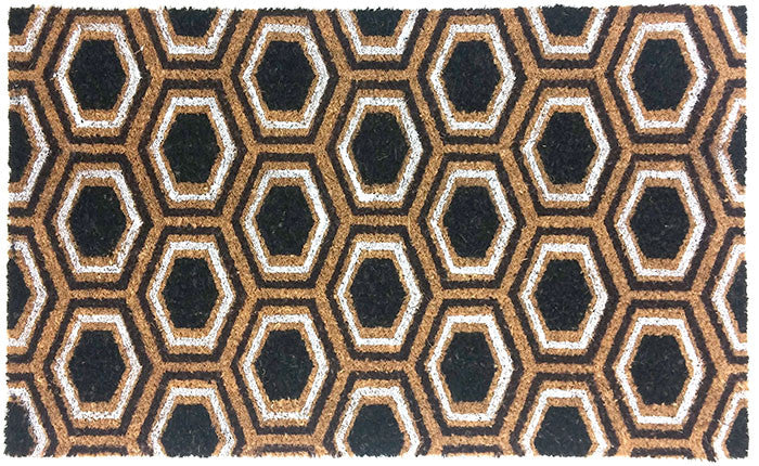 Honey Comb Pattern Vinyl Backed Coco Mat