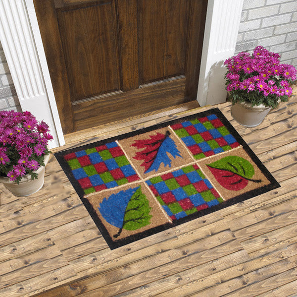 natural leaves coco doormats