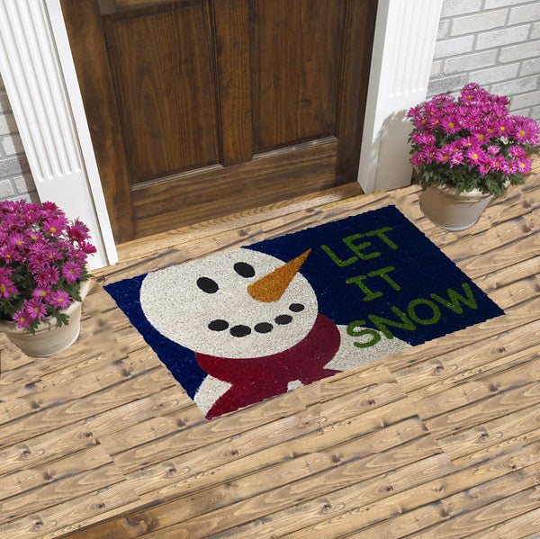 christmas coir doormats - let it snow