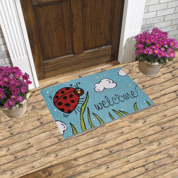 Magic LED coir doormat - welcome beetle