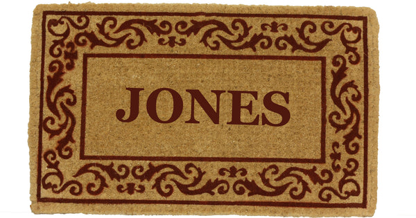 PERSONALIZED COCO MATS - FULL NAME ROLLING SCROLLS RED BORDER