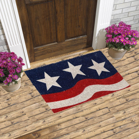 Patriotic coir mat - stars and strips flag