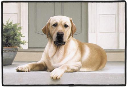 Yellow Lab on Porch Polyester Doormat