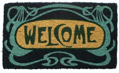 Doormat with a black background, retroglamblue print and Welcome print at the center.