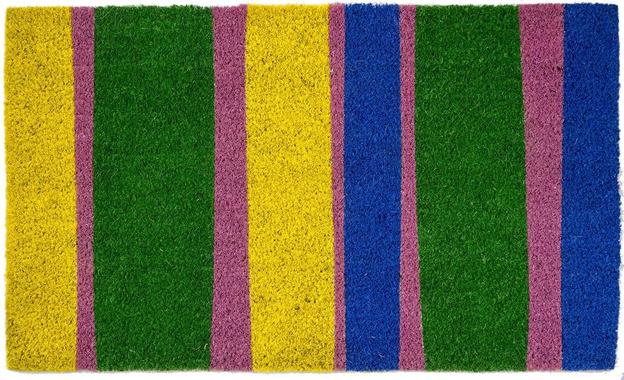 Coir doormat with yellow, blue, pink and green stripes.