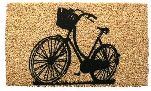 Coir doormat with black line illustration of bicycle.