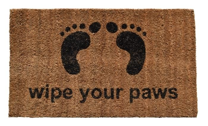 WIPE YOUR PAWS VINYL BACK COIR DOORMAT