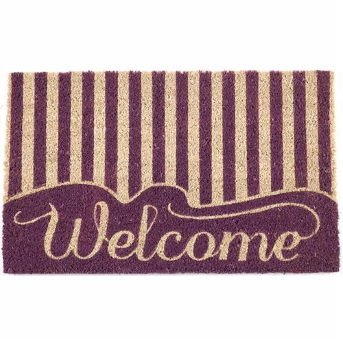 Striped Welcome Handwoven Coco Doormat
