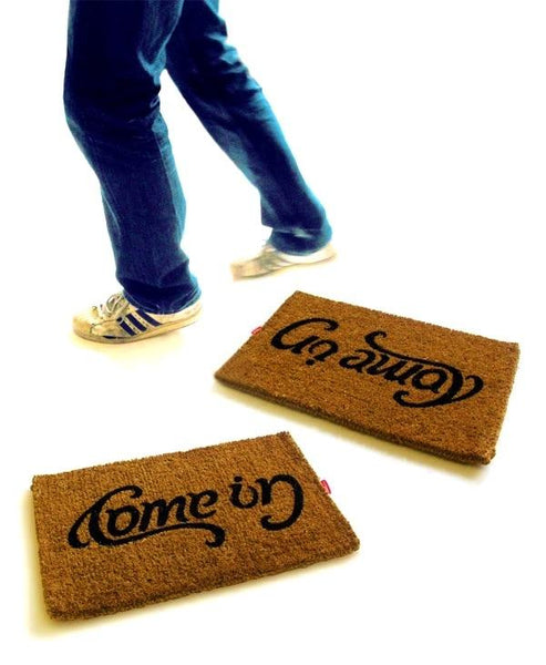 Come in Go Away Ambigram Vinyl Coir Doormat