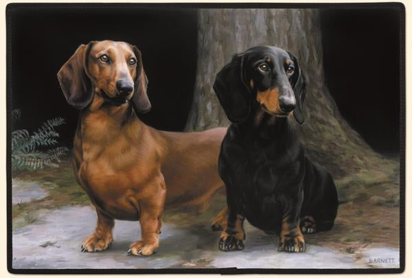 Dachshunds on Path Polyester Doormat