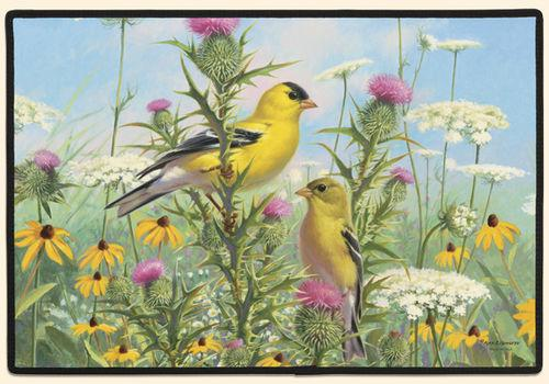 Goldfinches Polyester Doormat