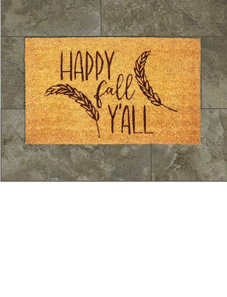 Happy Fall Y'all Vinyl Coir Doormat