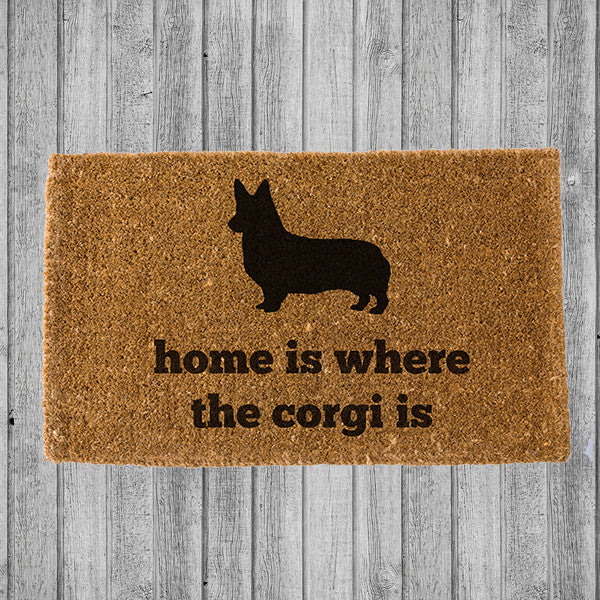 HOME IS WHERE THE CORGI IS DOORMAT