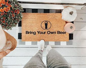 Bring Your Own Beer Vinyl Coir Doormat