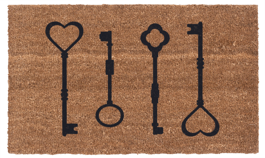 The Keys to My Heart Vinyl Coir Doormat