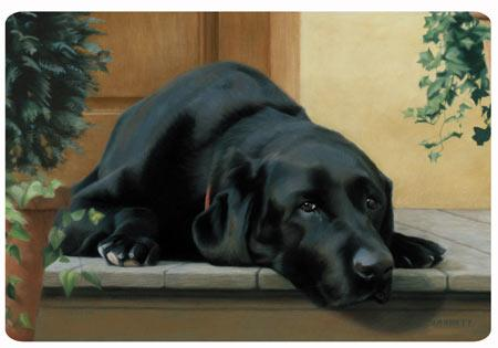 Black Lab on the Porch Polyester Doormat