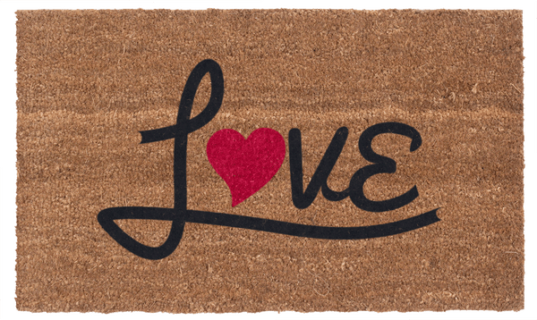 Love Heart Red & Black Vinyl Coir Doormat