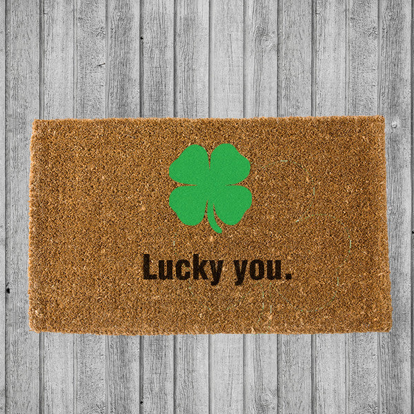 LUCKY YOU 4 LEAF CLOVER DOORMAT