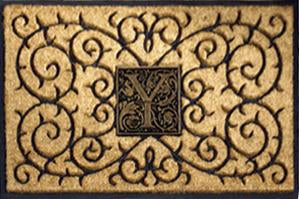 Monogram Medallion Insert Rubber Coir Doormat