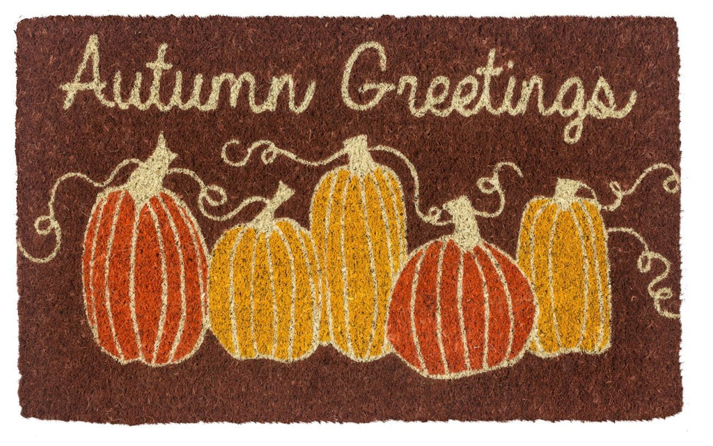 Coir doormat with illustrated pumpkins and Autumn Greetings text.