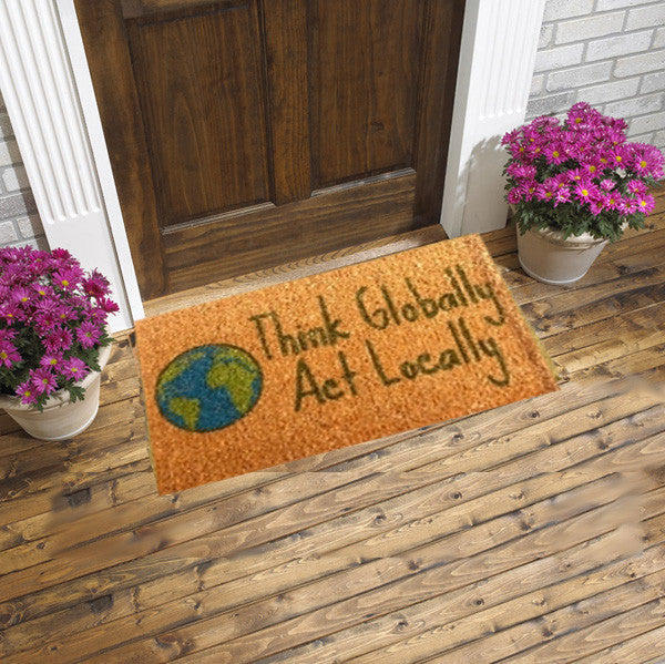 Coir doormat - think globally act locally