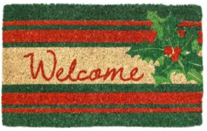 Welcome Holly Handwoven Coco Doormat