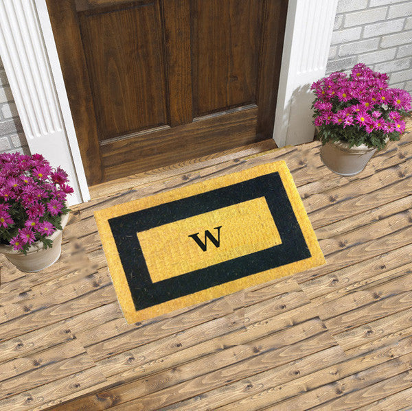 COIR MATS WIDE SINGLE BLACK BORDER - Monogram Mat