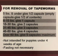 Tapeworm Dewormer for Any Size Dog - 34mg Praziquantel (1 capsule per 15 pounds of body weight)