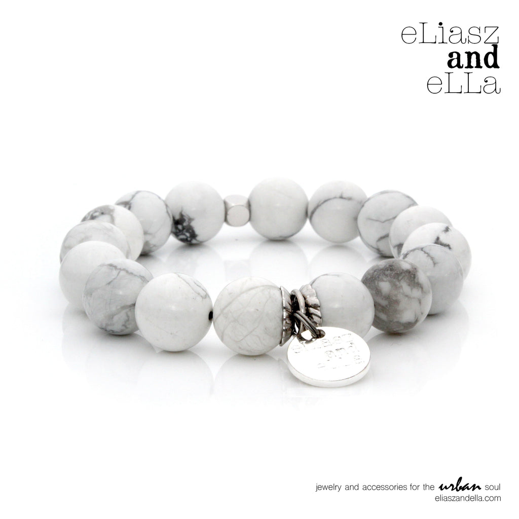 12mm white howlite stone beads bracelet