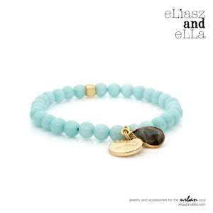 6mm mint agate stone beads with Labradorite stone charm bracelet