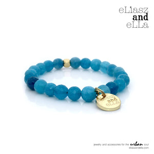 8mm blue agate stone beads bracelet