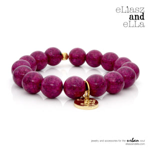 12mm purple riverstone beads bracelet