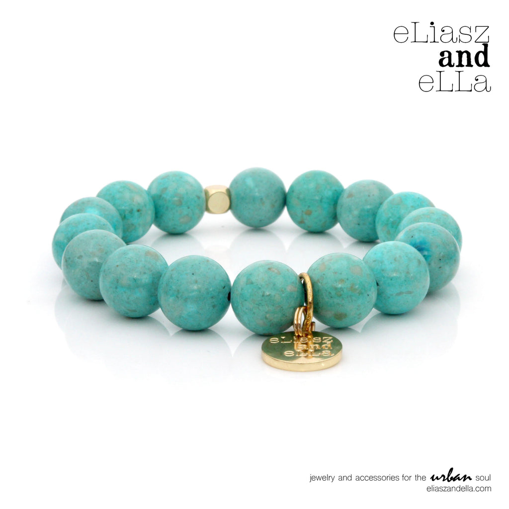 12mm teal riverstone beads bracelet