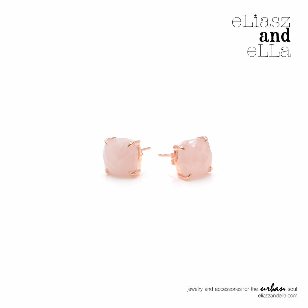 """Reine"" Rose Quartz Earrings"