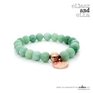 8mm opaque green agate stone beads bracelet