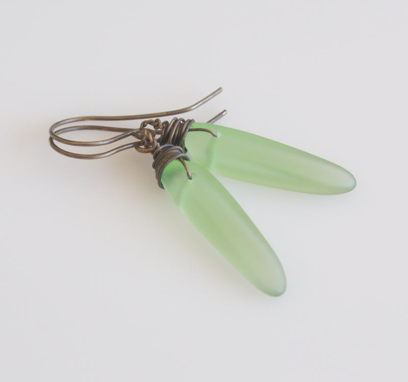 Mint sea glass earrings from Nova Leigh Walker