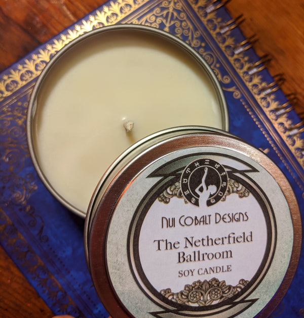 The Netherfield Ballroom soy candle from Nui Cobalt Designs
