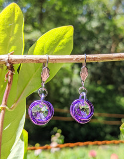 lavender Swarovski crystal earrings from Armatora Catena