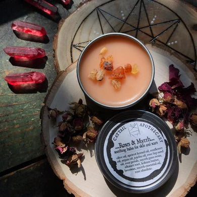 Roses & Myrrh organic soothing skin and scar balm from Cattail Apothecary