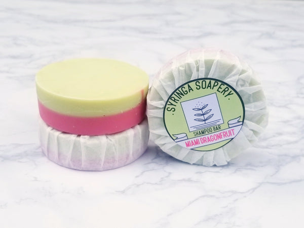 Miami Dragonfruit shampoo bars from Syringa Soapery