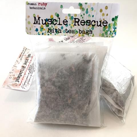 Muscle Rescue Bath Tea Bags from Roman Ruby Botanicals