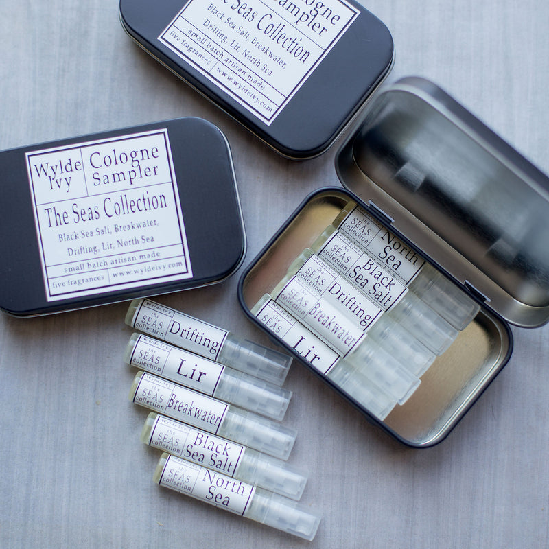 The Seas collection of five 2.5ml perfume sampler from Wylde Ivy