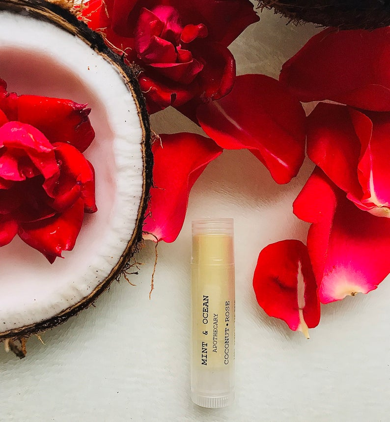 Coconut Rose Organic lip balm by Mint and Ocean