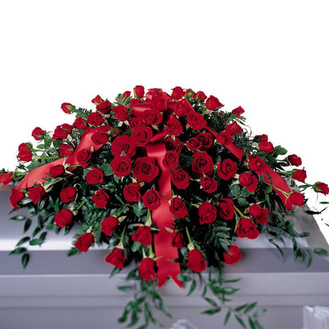 funeral flowers all red roses casket spray