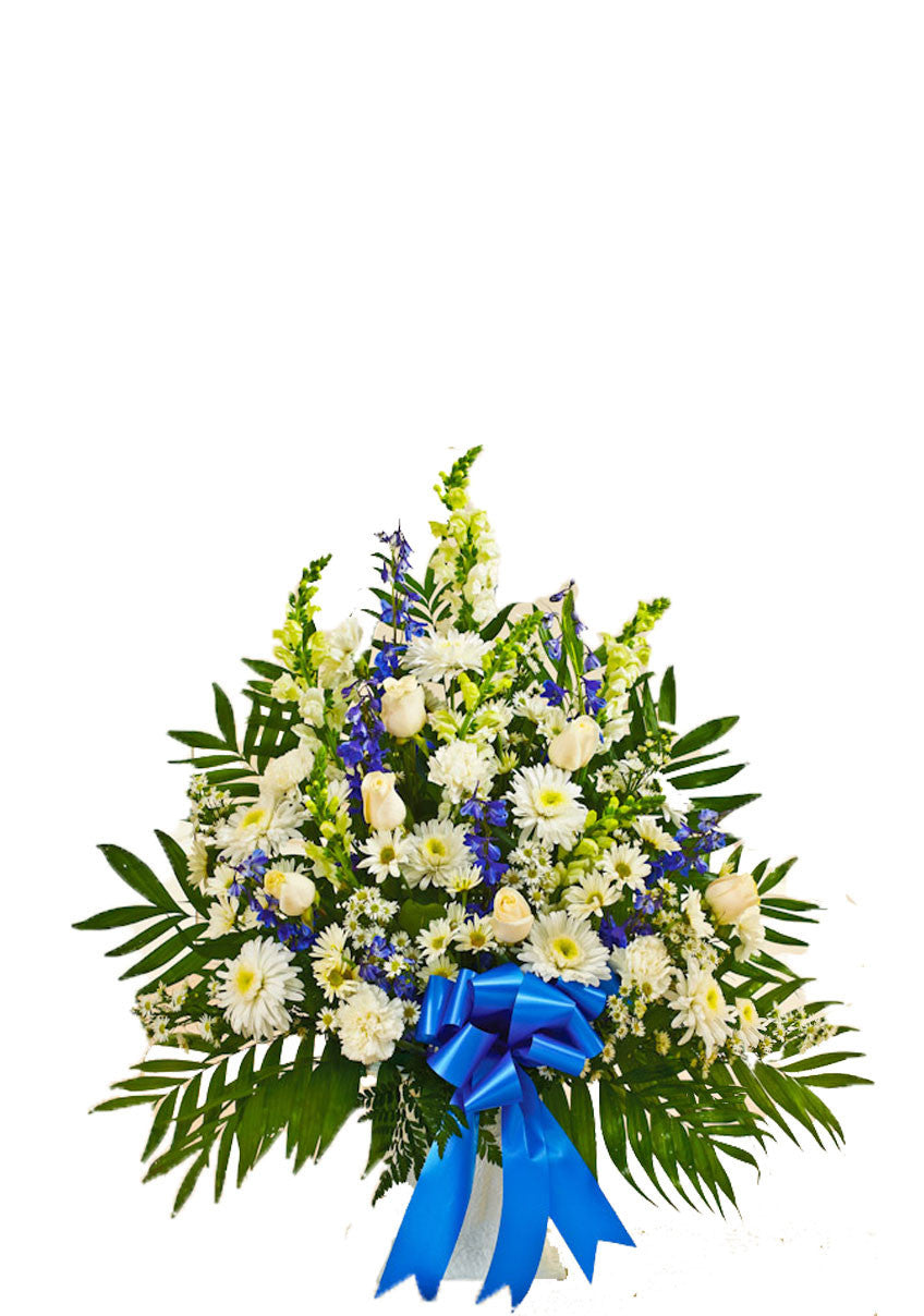 sympathy basket blue and white