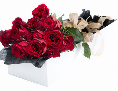 Dozen Long Stem Red Roses Boxed