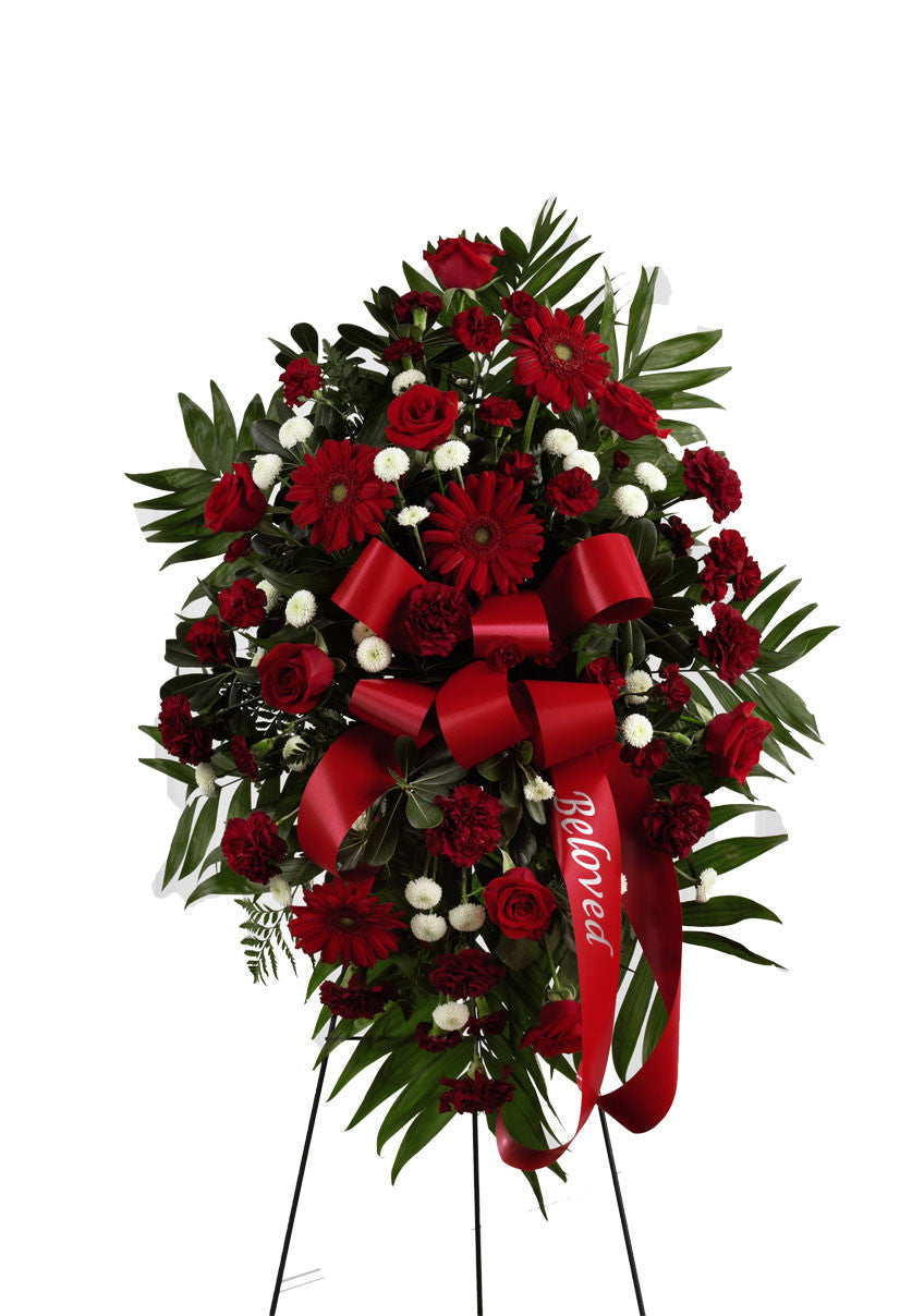 funeral flowers standing spray all red