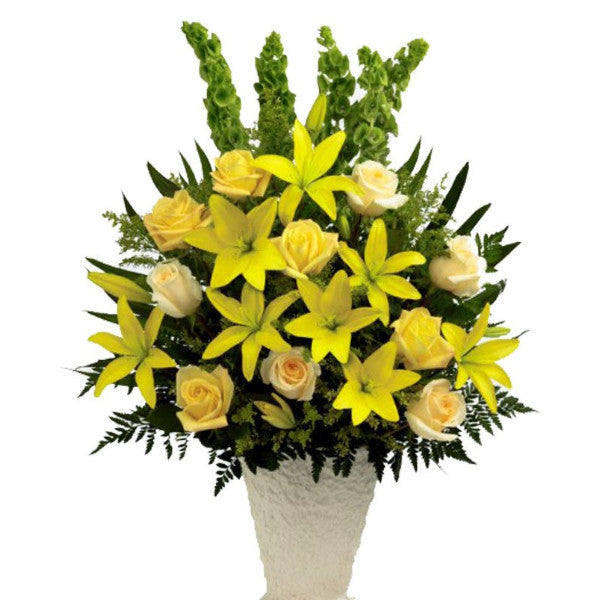 funeral flowers Yellow Basket Spray