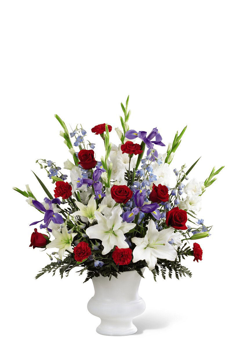 funeral flowers red white & blue basket