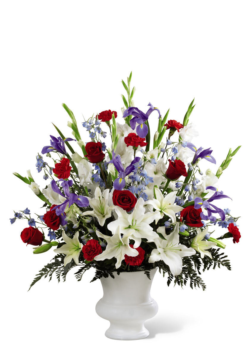funeral flowers red white & blue basket deluxe